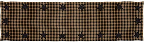 VHC Brands Primitive Tabletop Kitchen Cotton Appliqued Star Rectangle 13x48 Runner Raven Black product image