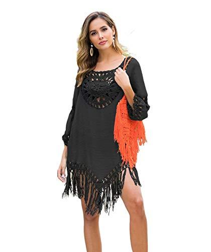 Bettergoods Faldas de Playa holgadas para Mujeres, Fundas de Bikini holgadas, Trajes de baño, Tops de Playa de Estilo vacacional con Flecos Sueltos y Paneles Redondos Grandes(Black)