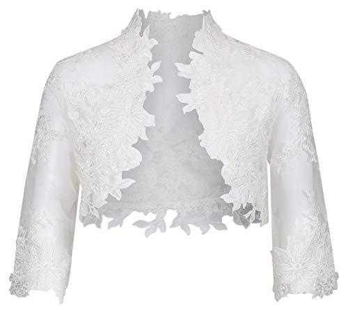 Nina Brautmoden Bolero Jacke aus Spitze für Kommunion/Kommunionkleid - K-106 (128, weiß)