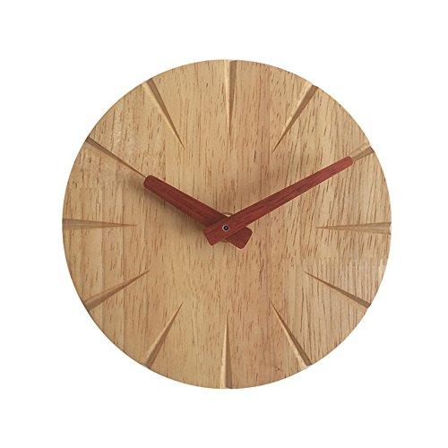 YingQinClan wandklok creatief massief hout persoonlijkheid eenvoudige moderne houten ultra stille kleine 15 cm stille niet-tikken kleurrijk decoratief Arabisch voor woonkamer slaapkamer en kantoor