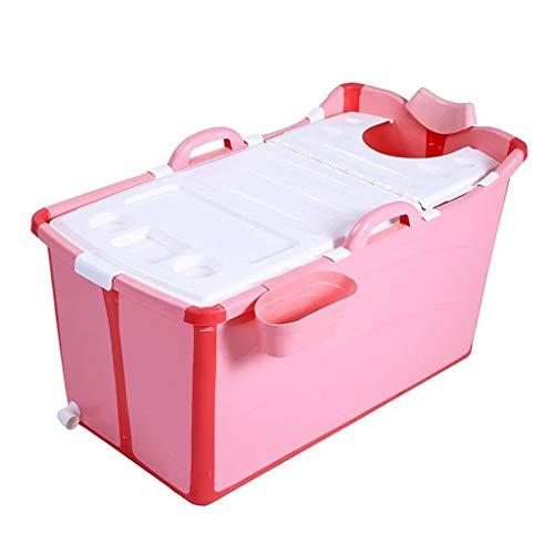 WXL Kinderen Opvouwbare Badkuip Bad Barrel Vrijstaande Badkuip Plastic Huishoudelijk Draagbaar Bad Vat 91*50*53CM (Color : Pink)