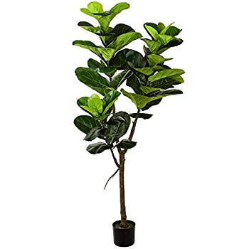 Wofair 5 Feet Artificial Fiddle Leaf Fig Tree in Planter Faux Ficus Tree Plant for Home Garden Office Store Indoor Outdoor Decoration  Pot Included