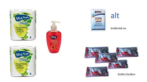 Conny Clever 5 Flächen Hygiene Tücher + Küchenrolle 2-lagig Big Soft 4x50Blatt + Handseife Granatapfel Seife flüssig