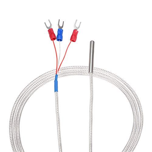 uxcell PT100 RTD Temperaturfühler Sonde 3 Drähte Kabel Thermoelement Edelstahl 300 cm (9,8 ft), Grad A