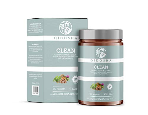 QIDOSHA Clean Detox Kapseln hochdosiert, Entgiftungskur mit Mariendistel, 100% natürlich, vegan, laborgeprüft, 120 Kapseln im Glas