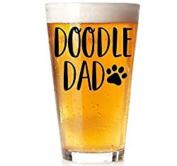 "A pint glass that says ""Doodle Dad"" makes a great Goldendoodle gift for dads, photo"