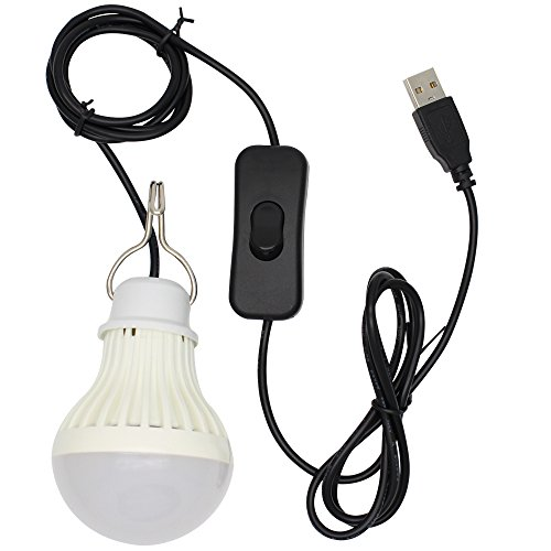 5W USB LED Lampe Birne,Kabel ist im Lieferumfang Schalter,für Camping, Wandern, Angeln, Wandern, Notlicht und andere Outdoor-Aktivitäten,Warmweiß