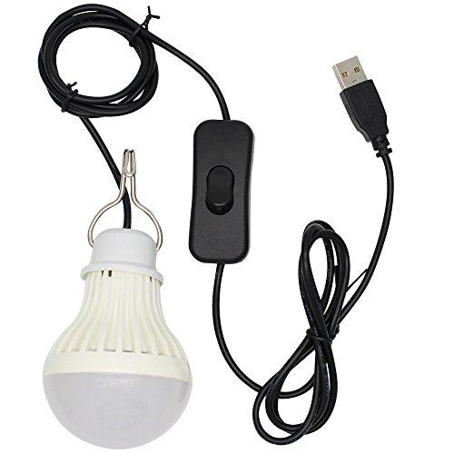 5W USB LED Lampe Birne,Kabel ist im Lieferumfang Schalter,für Camping, Wandern, Angeln, Wandern, Notlicht und andere Outdoor-Aktivitäten Kaltweiß
