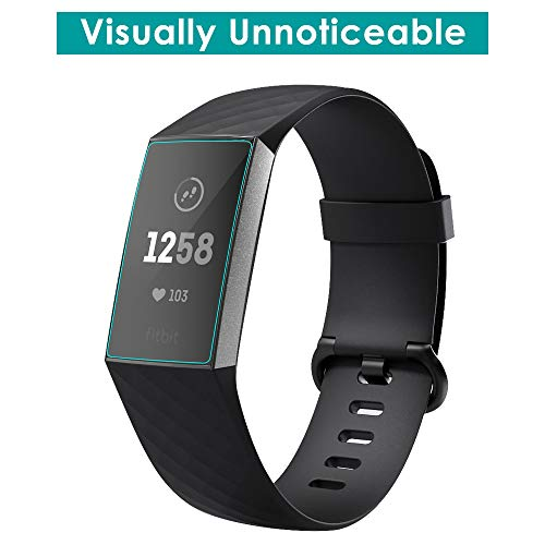 CAVN Compatible with Fitbit Charge 3/Charge 4 Screen Protector (6pcs), Full Coverage Flexible Protective Film Screen Cover Saver Ultra Clear Anti-Bubble Screen Protector for Charge 3