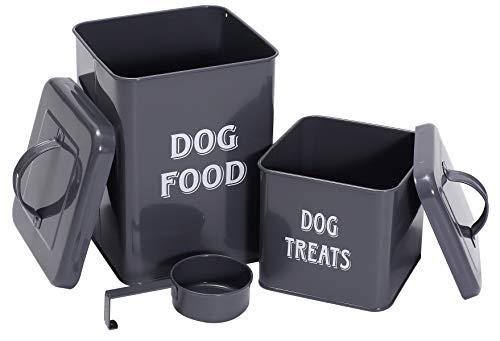 Morezi Aufbewahrungsbehälter für Tiernahrung/Snacks aus Kohlenstoffstahl mit dichtem Deckel, um das Futter frisch und trocken zu halten-Hundefutter grau