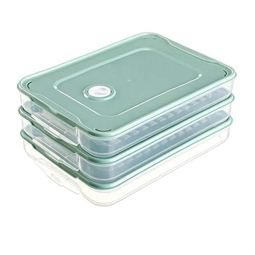 TOPofly Rectángulo de 3 Capas Nevera Almacenamiento de la Comida del Organizador del almacenaje de Masa hervida recipientes con Tapa y Mango de plástico Verde