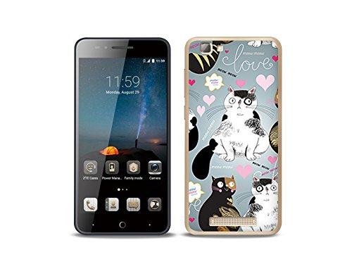 etuo Handyhülle für ZTE Blade A612 Handyhülle Schutzhülle Etui Hülle Case Cover Tasche für Handy Fantastic Case - Katzen & Herzen