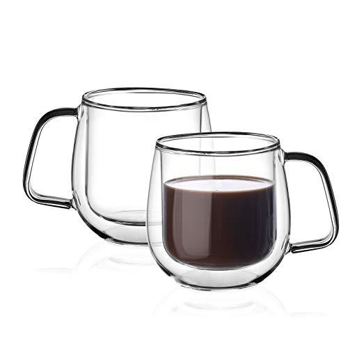 Amisglass Tazas de Vidrio, Juego de 2 Piezas de Tazas de Café...