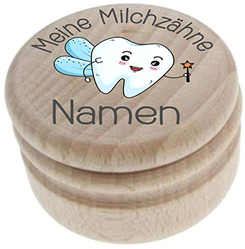 Milchzahndose aus Holz – Meine Milchzähne – Zahndose mit Namen personalisiert – Die Zahnbox hat einen Deckel mit Schraubverschluss - perfekt als kleines Geschenk · Zahnfee - für Jungen & Mädchen - 25