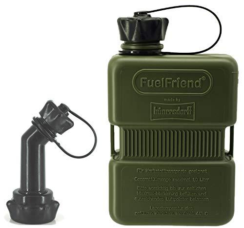 FuelFriend®-Plus 1,0 Liter - Sonderserie Oliv - Klein-Benzinkanister Mini-Reservekanister + verschließbares Auslaufrohr
