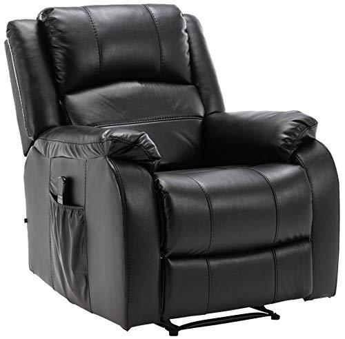 CLP Sillón Kerpen con función de masaje, piel sintética, piel auténtica, con función reclinable, color: negro, material: piel auténtica