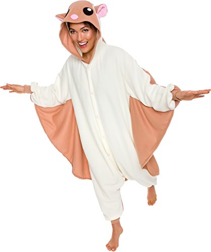 Silver Lilly Unisex Adult Pajamas - Plush One Piece Cosplay Flying Squirrel Animal Costume (M)