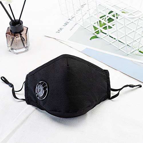 2 paquetes de PM máscaras de contaminación 2.5 de aire, lavable y reutilizable a prueba de polvo respirador máscara humo con correa-negro ajustable (Schwarz 2 Stück)