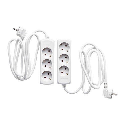 Ikea KOPPLA Mehrfachsteckdosen 3-Fach in weiß; geerdet; 2 Stück