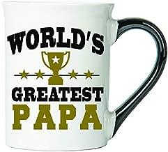Cottage Creek Papa Gifts Large 18 Ounce Ceramic Worlds Greatest Papa Coffee Mug/Papa Father's Day Gifts [White]