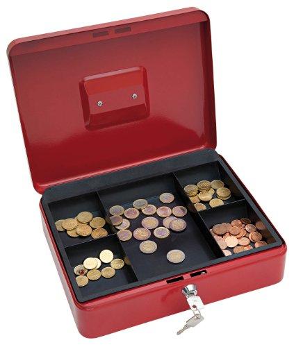 WEDO 145402X Geldkassette aus pulverbeschichtetem Stahl, versenkbarer Griff, 5-Fächer-Münzeinsatz, Sicherheits-Zylinderschloss, rot