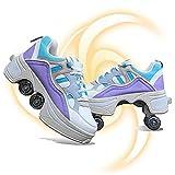Patines Para Damas,patines Cuádruples Para Niños, Patines 2 En 1,zapatos De Deformación,zapatos Para Caminar Automáticos,zapatos Unisex Con Ruedas,patines Kick Rollers,Purple-37EU