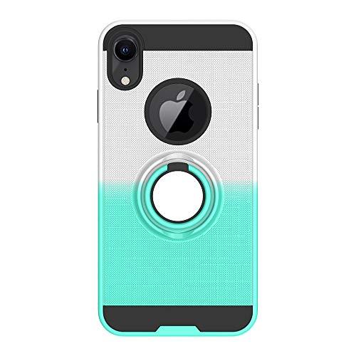 FAWUMAN Coque pour iPhone XR(6.1 inch),Anti-Glisse 3D en résille Boîtier PC + TPU Double Layer Housse résistant aux Chocs avec Support à Anneau Rotatif à 360 degrés (Vert-argenté)