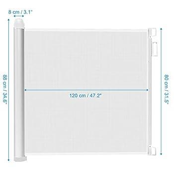 Leogreen - Barrière de Sécurité Bébé Barriere Chien pour Escalier et Porte, Barrière de Sécurité Extensible et Enroulable 0cm - 125cm, Système de Verrouillage d'une Main, Installation Facile, Blanc