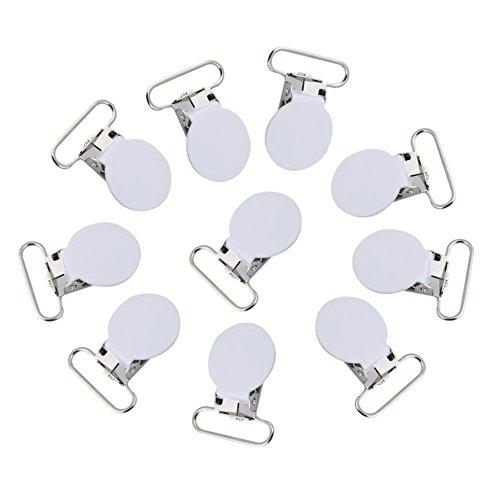10 Stücke Hosenträger Clips, 25mm Metall Durable Runde Hosenträger Schnullerband Halter Bib Clip Straps Schnalle DIY Machen Lieferungen(Weiß)