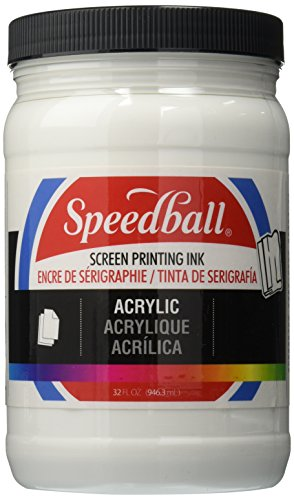 Speedball Permanent Non-Toxic Non-Flammable Oil Based Acrylic Screen Printing Ink, 1 qt Jar, White