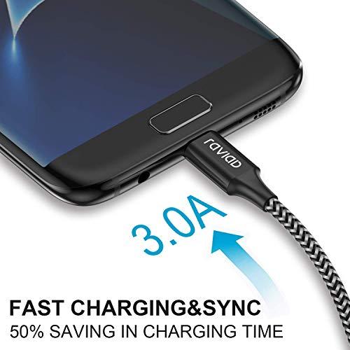 RAVIAD Micro USB Kabel, [4Pack 0.3m 1m 2m 3m] 3A Micro USB Ladekabel Android Schnellladekabel für Samsung Galaxy S7 Edge/S7/S6/J3/J7/Note 5, Huawei, Xiaomi, Wiko, Nexus, Kindle, Echo Dot - Schwarz