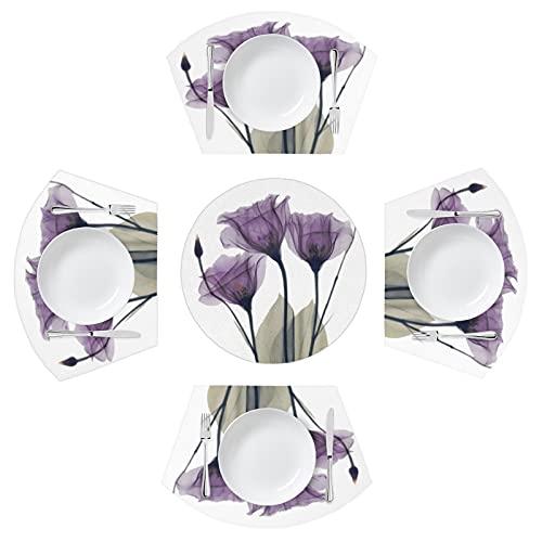BOLOLI - Juego de 5 manteles individuales con forma de tulipán de flores moradas con centro para mesa de comedor redonda, diseño floral, lavable, antideslizante, resistente al calor