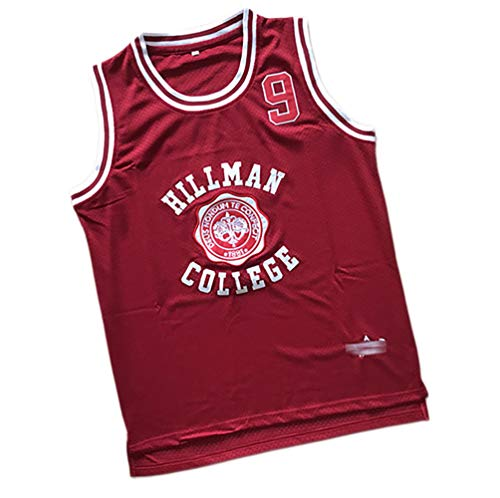 JHJK Herren und Damen Basketball Trikots Hillman College No.9 Wayne Basketballtrikot Movie Version Basketballtrikot Gr. XXL, rot
