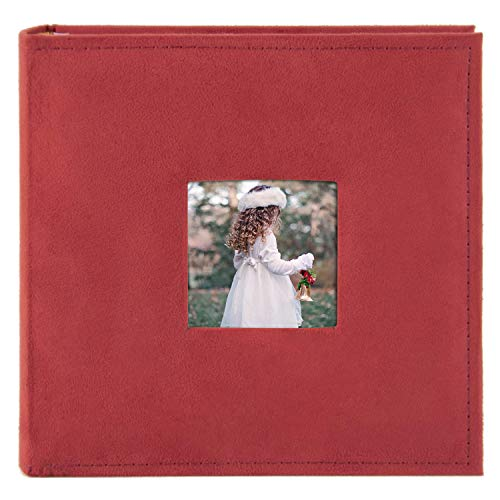Golden State Art, Family Holiday Photo Album Christmas, Vacation, Anniversary Photography Book for 200 4x6 Pictures Pockets with Memo, 2 Per Page Large Capacity (Suede Cover - Red)