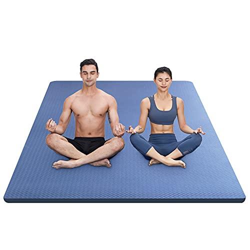 "YUREN Large Yoga Mat 78""x51"", Eco-Friendly TPE Yoga Pilates Mat, 15mm Thick Exercise Mat, Non Slip Home Workout Mat, Fitness Gym Floor Stretching Mat - Blue"