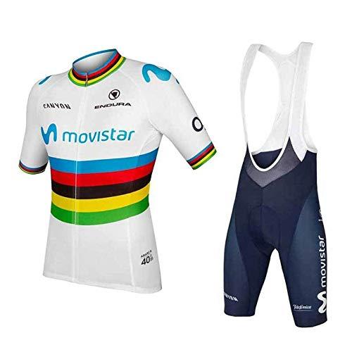 WOLFIRE WF Traje de Ciclismo para Hombre de Equipos. Culotte y Maillot. con 5D Gel Pad. para MTB, Spinning, Bicicleta de Carretera (Movistar, L)