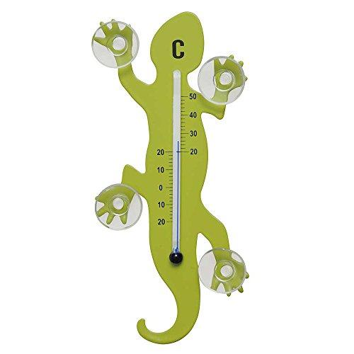 HAB & GUT - TG001 - Vert Clair - Thermomètre de fenêtre Gecko de métal, 14 cm avec 4 ventouses puissantes pour Fixation intérieure ou extérieure