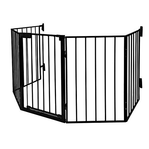 LABT Kaminschutzgitter Baby Absperrgitter Türschutzgitter Ofenschutzgitter, 5-teiliges Set mit komfortabler Tür | Schutzgitter pulverbeschichtetes Metall, Matt-Schwarz