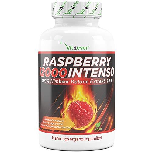 Raspberry 12000 Intenso - 12000 mg dose quotidienne - extra fort - 120 gélules - 100% extrait de cétone de framboise + vitamine C + acide folique - cétone de framboise - vegan