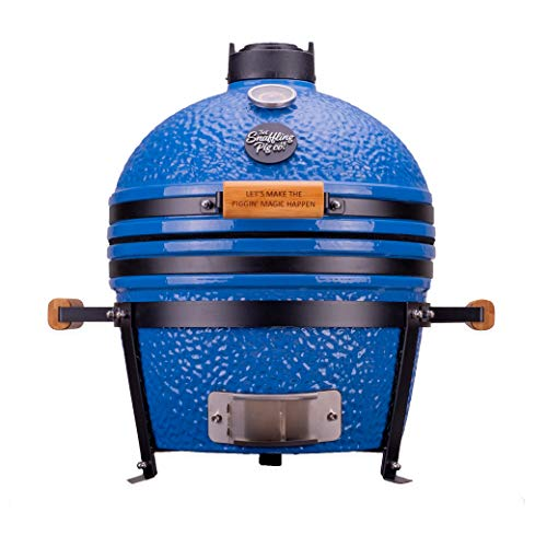 Snaffling Pig Pig Bluey Charcoal Kamado Barbeque & Grill Suitable For Smoking, Grilling, Roasting, Baking Easy Clean Outdoor Mini Blue BBQ Fitted with Temperature Gauge & Air vents