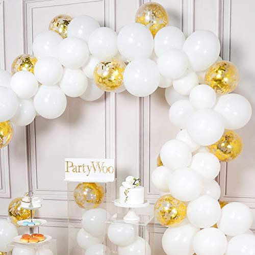 PartyWoo White and Gold Balloons, 100 pcs 12 Inch White Balloons and Gold Confetti Balloons, White and Gold Balloons Set for White and Gold Christening Decorations, White and Gold Wedding Decorations
