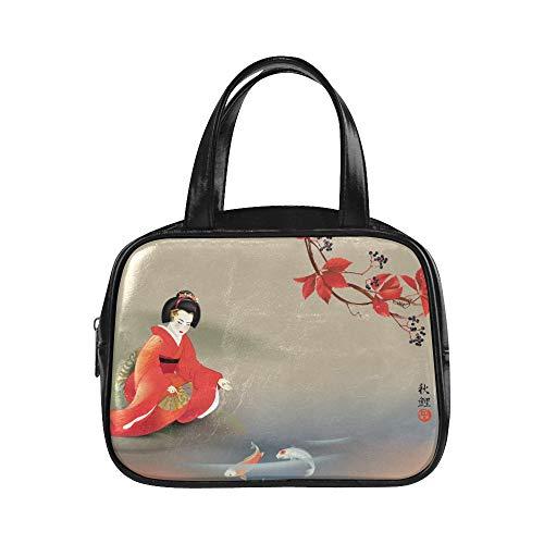 UGDFJYV Handtasche Mädchen Japanische Geisha Fütterung Heilige Koi Karpfen Bei Herbst Mädchen Mode Taschen Modetasche Für Frauen Pu Leder Top Griff Schulranzen Mode Frauentasche