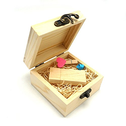 USB Flash Drive, luckcrazy de madera memoria usb 2.0 Stick pulgar disco Wooden-Rectangle 32GB