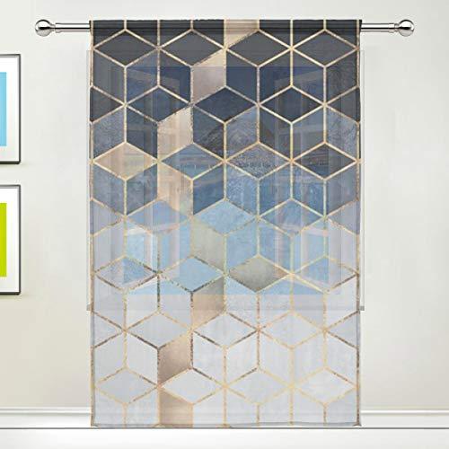 ALARGE Fenstervorhang, transparent, abstrakt, geometrische Kunst, Voile, Vorhang, Dekoration, Küche, Wohnzimmer, Schlafzimmer, Türfenster, 1 Stück, Polyester, Multi, 55