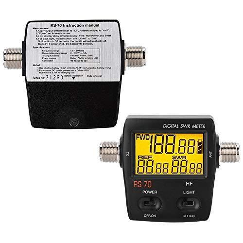 Wendry Digitales SWR, kurzwelliges digitales SWR-Stehwellenmessgerät für drahtlose 2-Wege-Gegensprechanlage, LED-Hintergrundbeleuchtung, Vorwärts-/Rückwärts-/VSWR-Verhältnis in einem Druckknopf