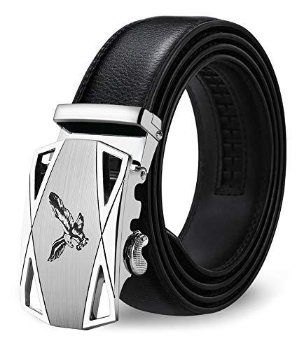 ITIEZY Ledergürtel Für Männer Automatik Gürtel Ratsche Gürtel, Schwarz 6, Länge: Bis zu 49,21 inches(125cm)