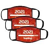 3PC 2021 Año nuevo Bandanas Respirable Polaina de cuello Elástico Multifuncional Wicking Pañuelo Estampado, Reutilizable, 𝐌𝐚𝐬𝐜𝐚𝐫𝐢𝐥𝐥𝐚𝐬 facial de tela de algodón reutilizable,Unisexo