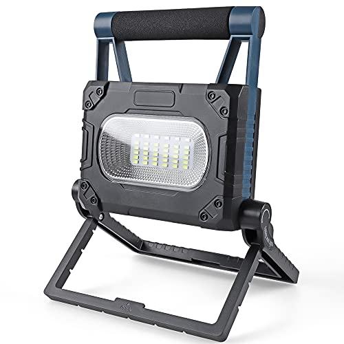 Led Arbeitsleuchte Akkukleuchte Strahler Solarbetriebene Aufladbar mit Magnetisches - 30w 1000lm Faltbares Baulampe Akku mit 4 Dimmstufen, Außen Beleuchtung für Camping, Werkstatt