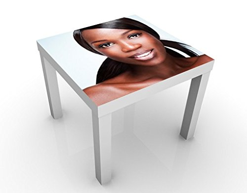 Apalis Table Basse Design Black Beauty Close Up 55x55x45cm, Tischfarbe:Weiss;Größe:55 x 55 x 45cm