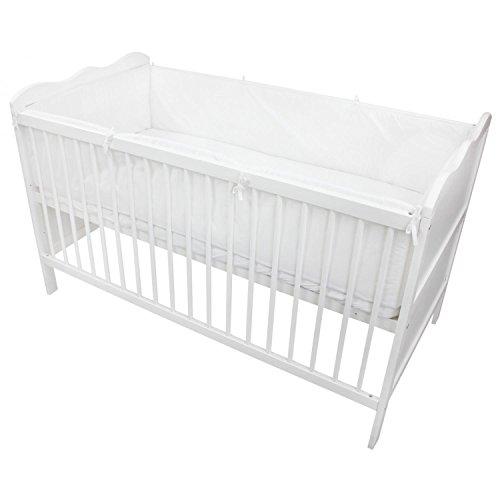 TupTam Babybett Bettumrandung Lang Gemustert, Farbe: Weiß, Größe: 420x30cm (für Babybett 140x70)